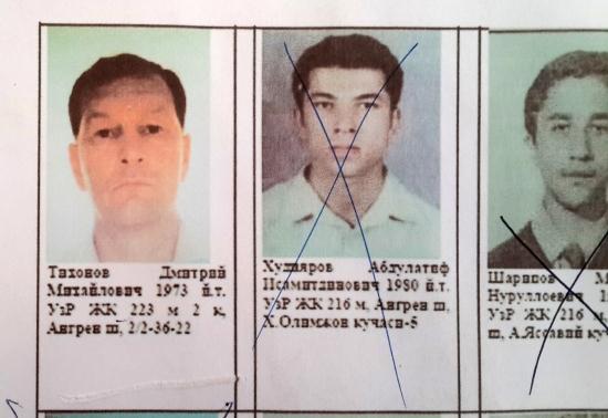 Фотография Дмитрия Тихонова среди фото разыскиваемых преступников. Отделение милиции Ангрена. Фото Алексея Волосевича, 2018 год